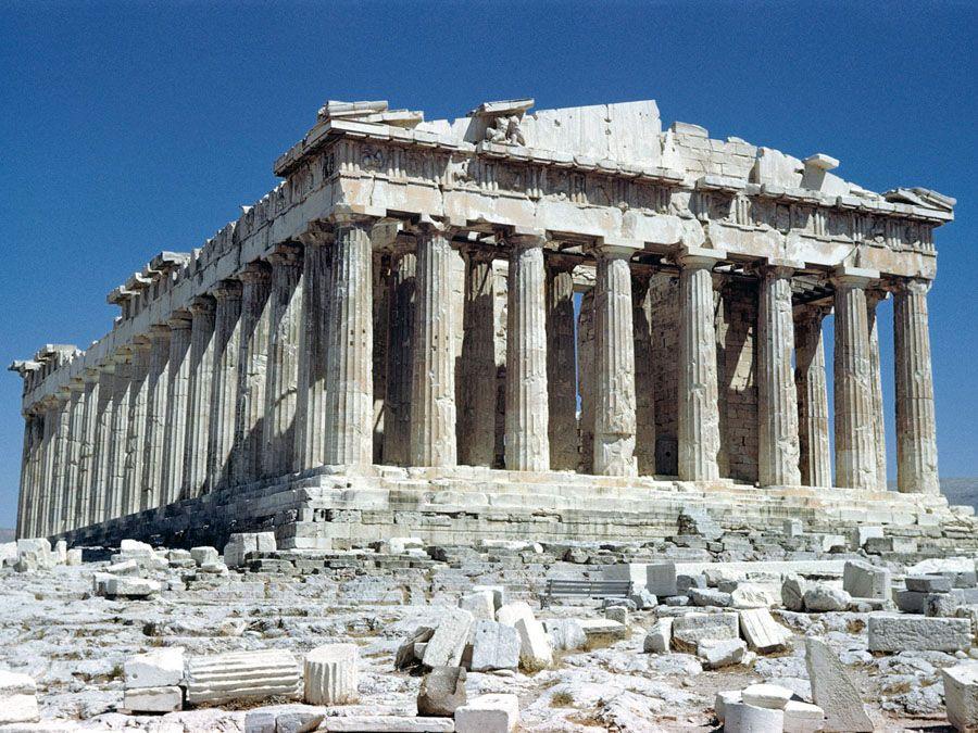 Афинский Акрополь вблизи фотография