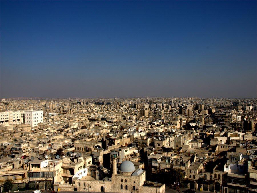 Фото панорама города Алеппо в Сирии