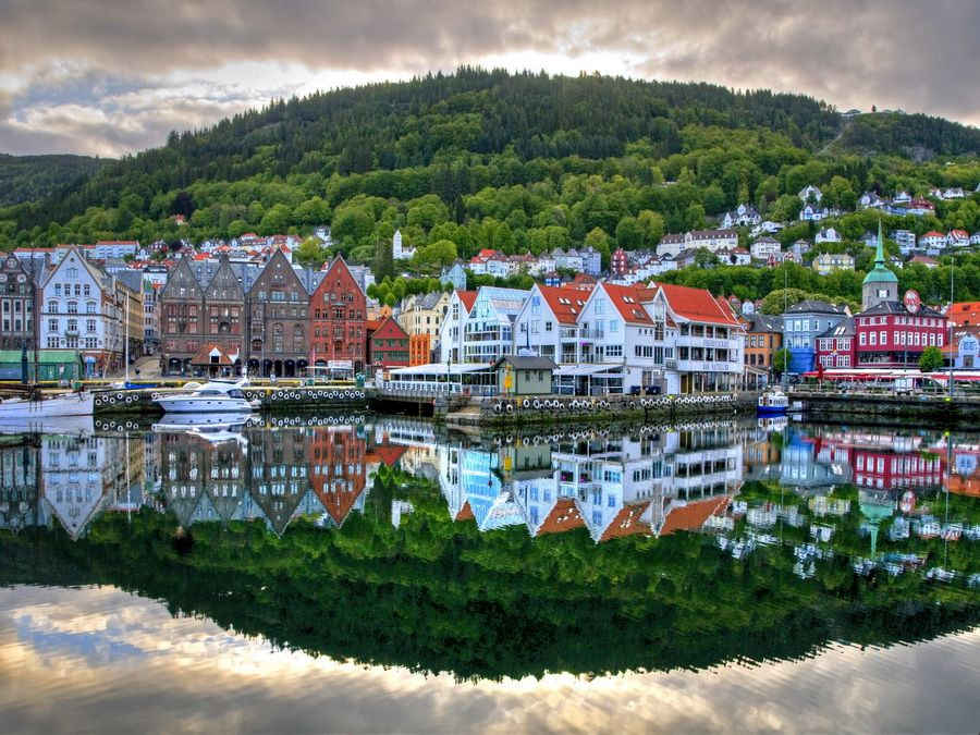 Панорама Бергена фотографии Норвегии