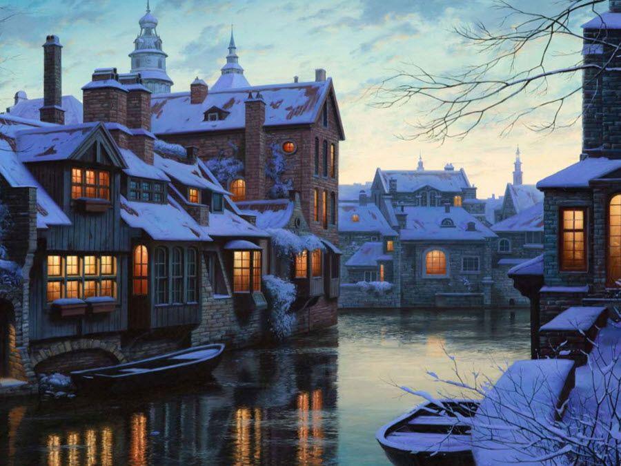Фото Брюгге в снежный день декабря