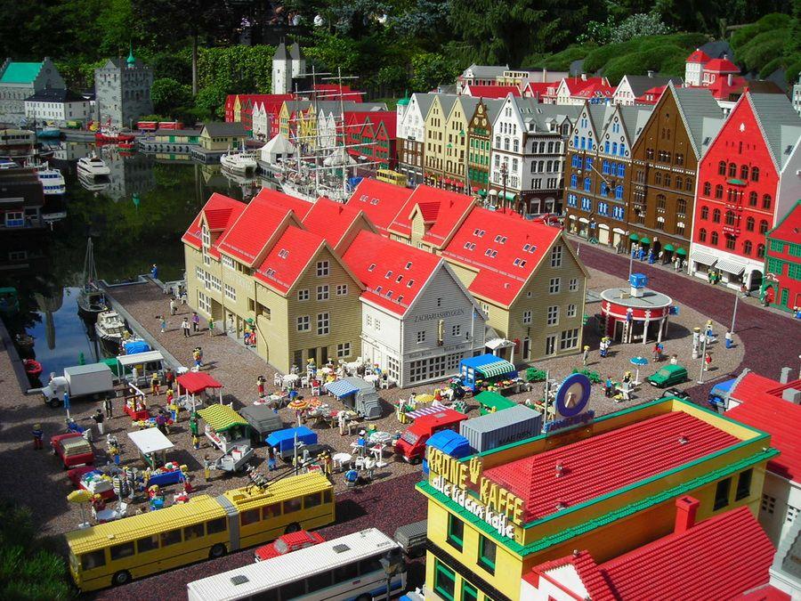 Фотография района Брюггена в Бергене Норвегия