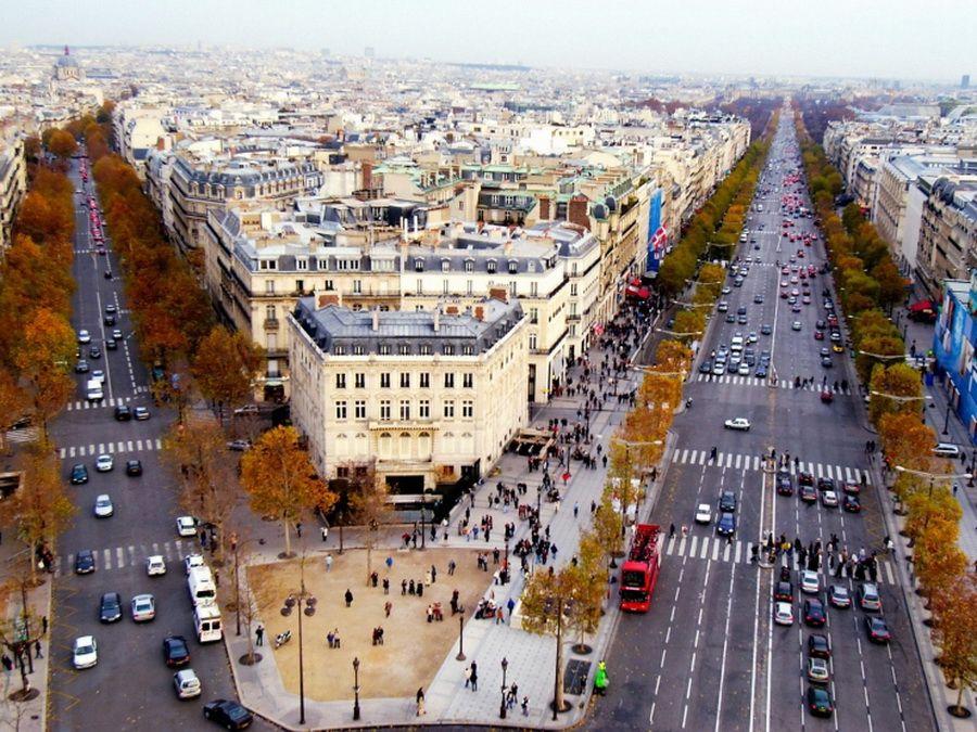 Елисейские поля в Париже фото с высоты