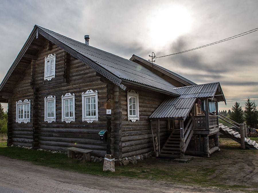 Фотография деревянной архитектуры в деревне Кинерма