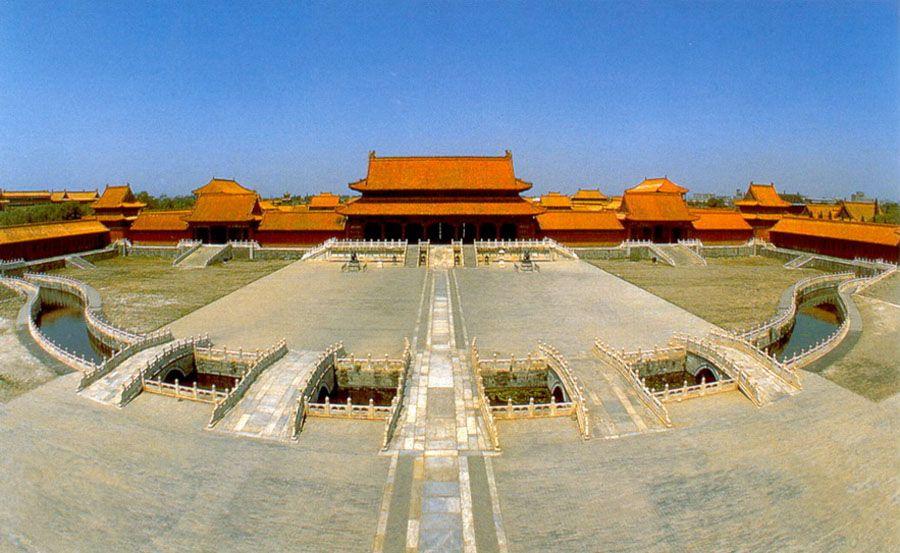 Фотография панорамы внутреннего двора Запретного города в Пекине