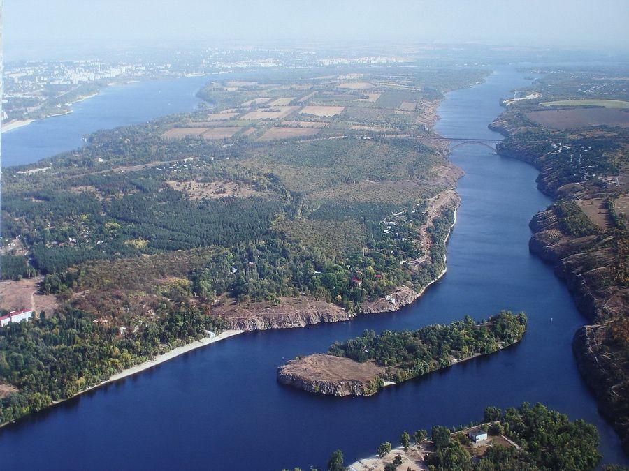 Вид на Хортицу с высоты фото