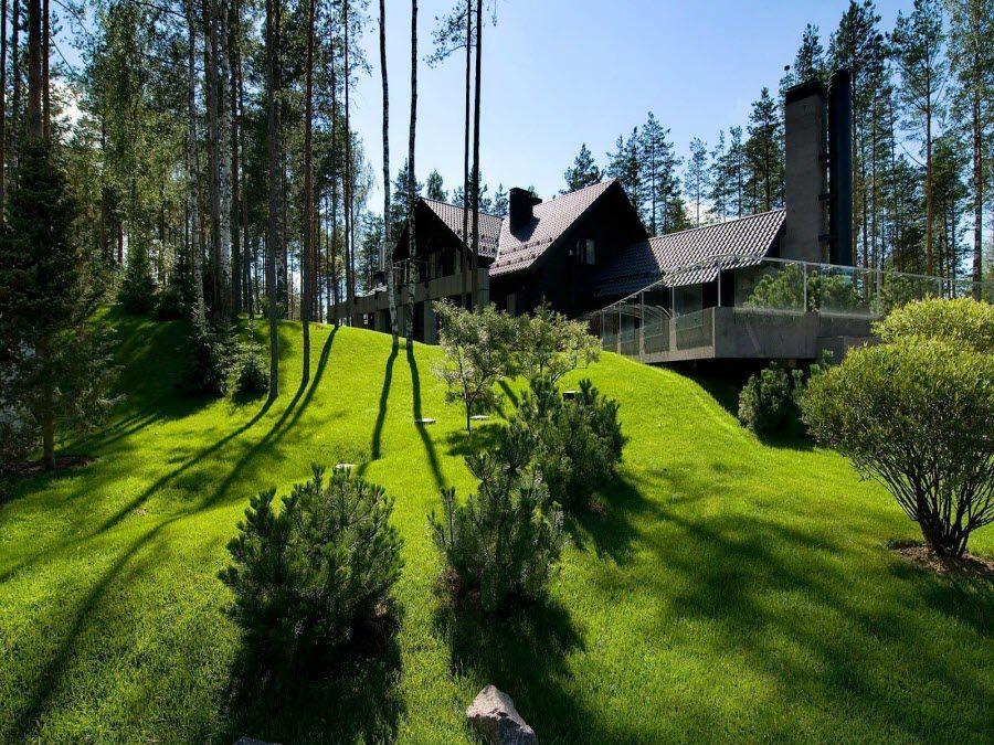 Фото красивый современный особняк в Ленинградской области
