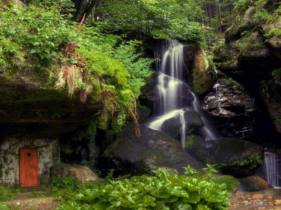 Фотография водопада Лихтенхайнского водопада в Саксонской Швейцарии