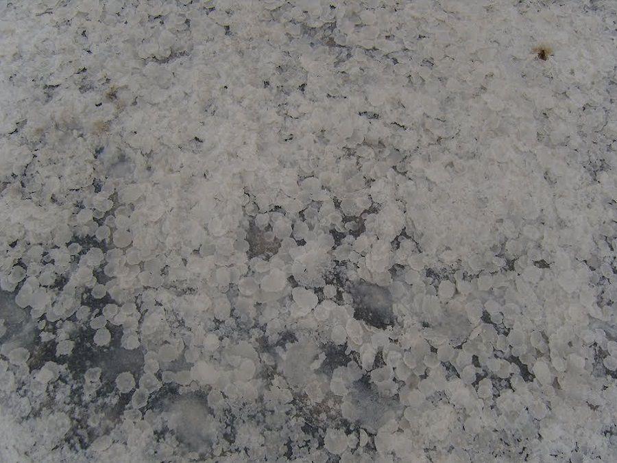 Фотография выпаренной соли на Малом Яшалтинском озере
