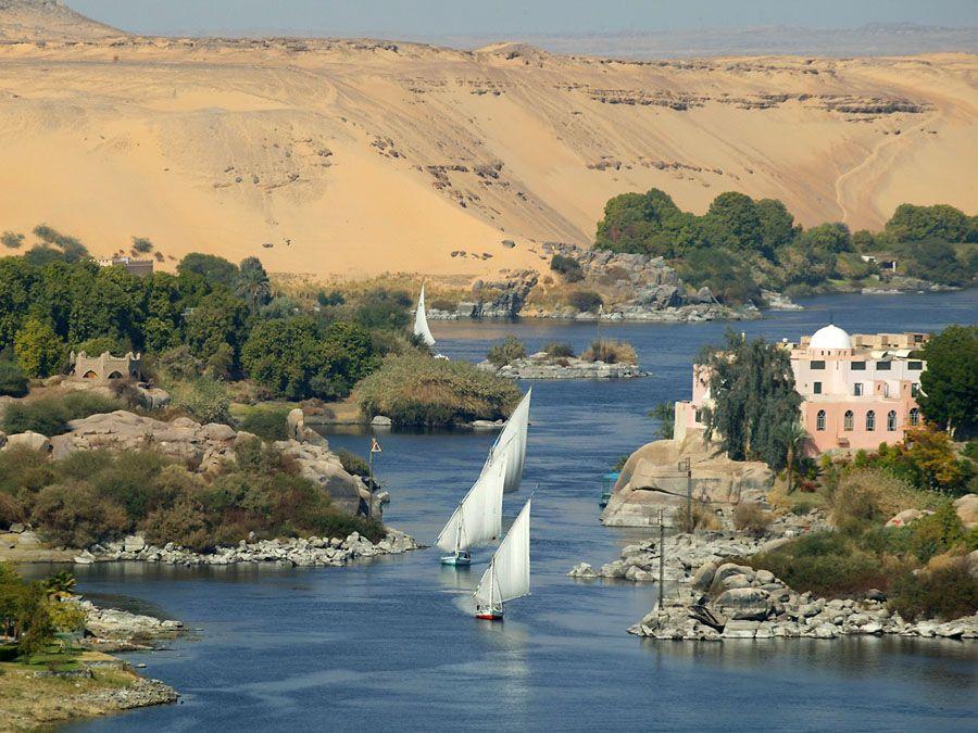 Река Нил в Египте фото
