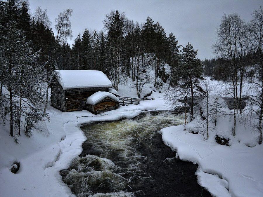 Старая мельница в Омской области вид зимой фото