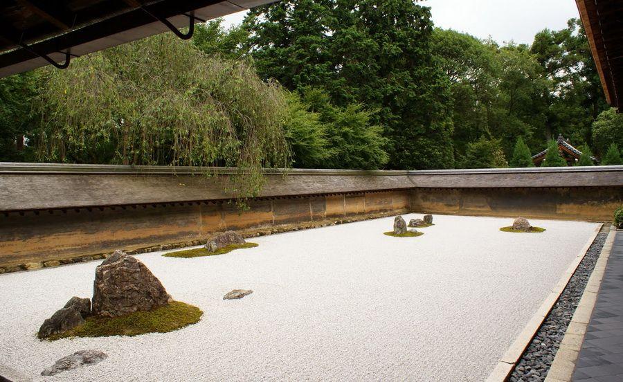 Фото Сада камней во дворе храма Реандзи в Киото