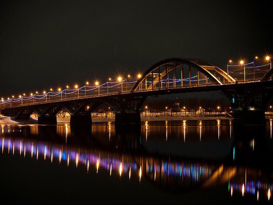 Рыбинский мост вид ночью фото