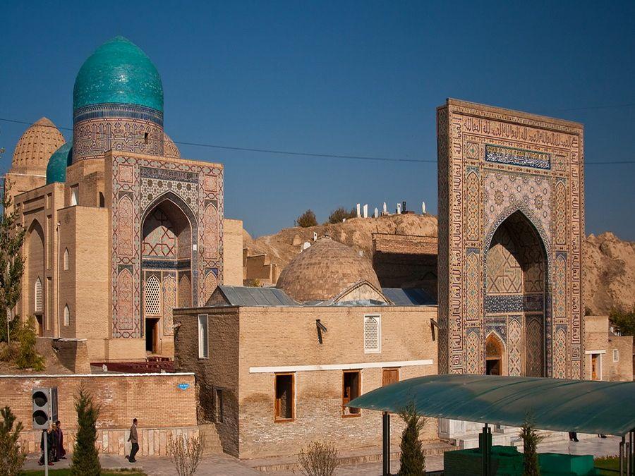 Панорама некрополя Шахи-Зинда в Самарканде фото Узбекистана