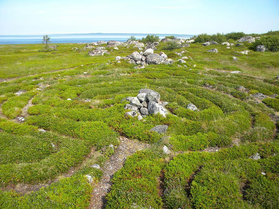Фотография каменного лабиринта на Соловецких островах
