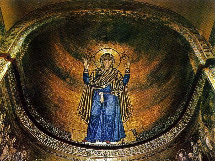 Фреска Богоматерь-Оранта на фотографии Софийского собора в Киеве