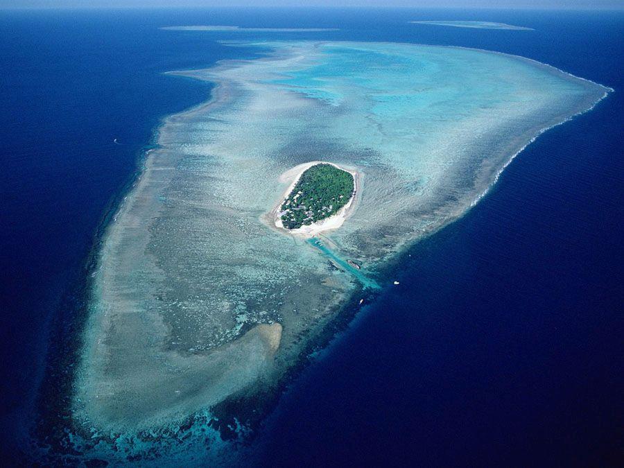 Большой Барьерный риф с высоты птичьего полета фотография