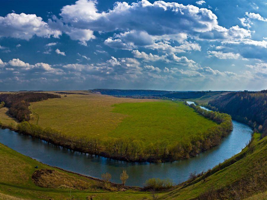 Вид на реку Красивая Меча Тульской области фото