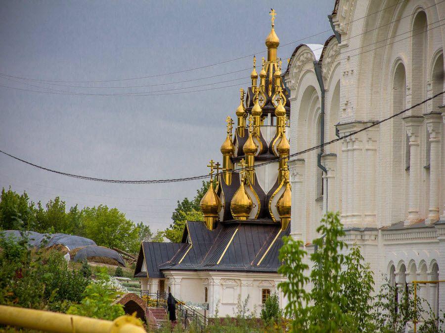 Фото вид на купола Усть-Медведитского монастыря