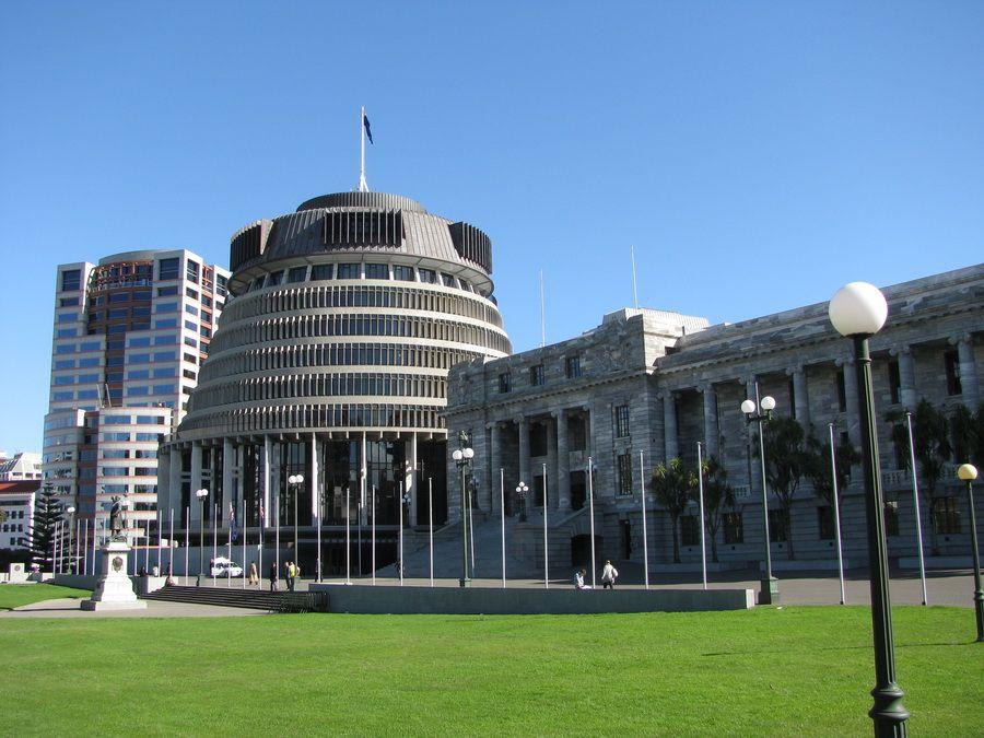 Фото трех зданий Парламента Новой Зеландии в Веллингтоне