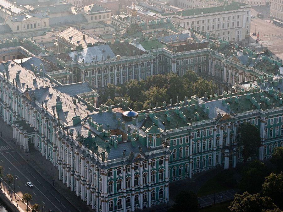 Панорама Зимнего дворца вид с высоты фотография