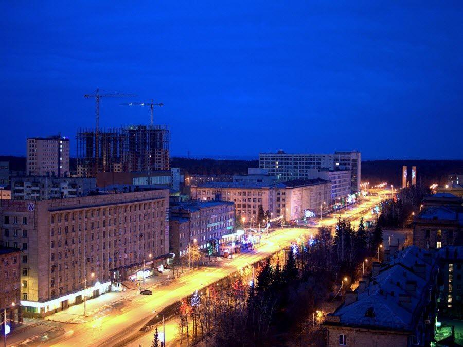 Фото вид на новый город Челябинска ночью