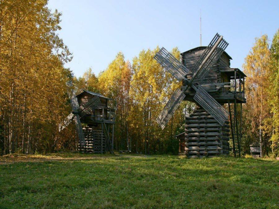 Фото старинных мельниц музея Малые Корелы