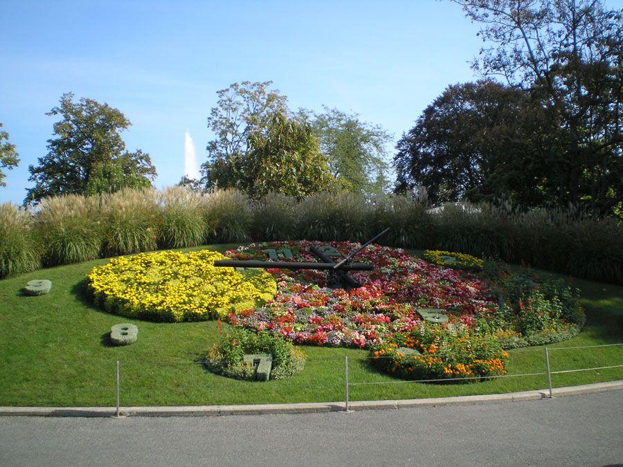 Фотография часов из 6500 цветов в Женеве