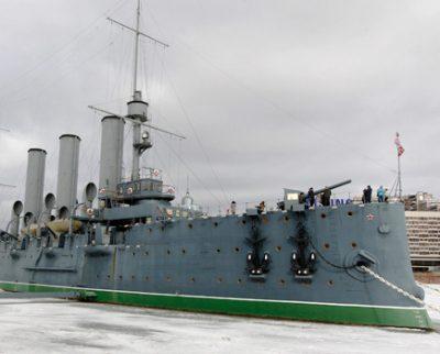 петербург крейсерАврора зимой
