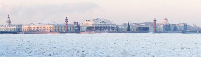 петербург Стрелка Васильевского острова зимой